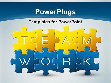 powerpoint template puzzle with the keyword teamwork