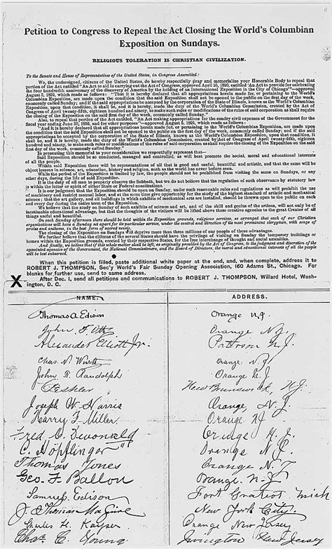 What Does A Petition Letter Look Like Petition For Sunday Openings At The World Columbian Exposition 1893