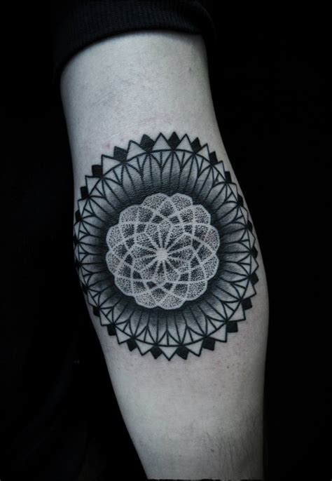 black mandala arm tattoo minimal tattoos