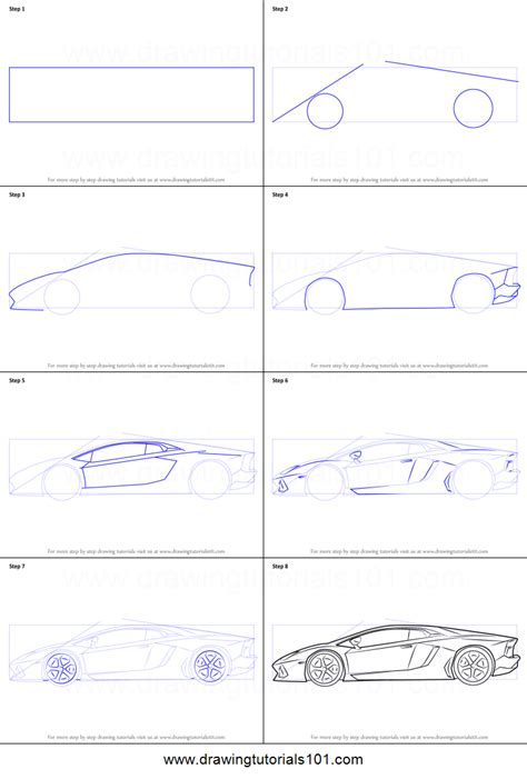 How To Draw A Lamborghini Step By Step How To Draw Lamborghini Centenario Side View Printable