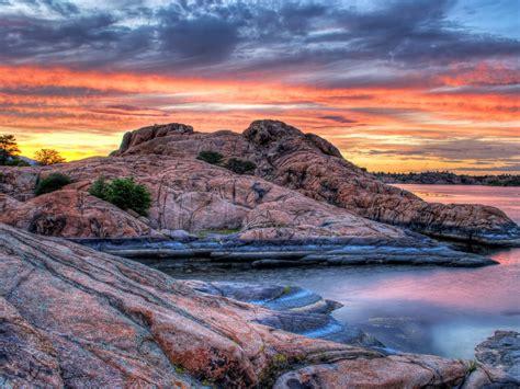 sunset  prescott arizona usa willow lake red granite