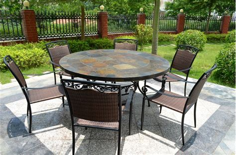 63 Round Slate Outdoor Patio Dining Table Stone Oceane Slate Top Patio Table