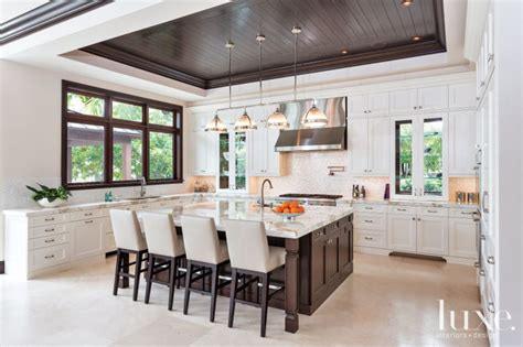 Luxe Kitchen by Transitional Mahogany White Kitchen Luxe Interiors Design