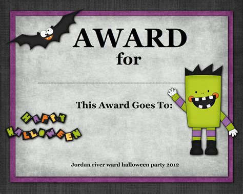 4 best images of free printable halloween award