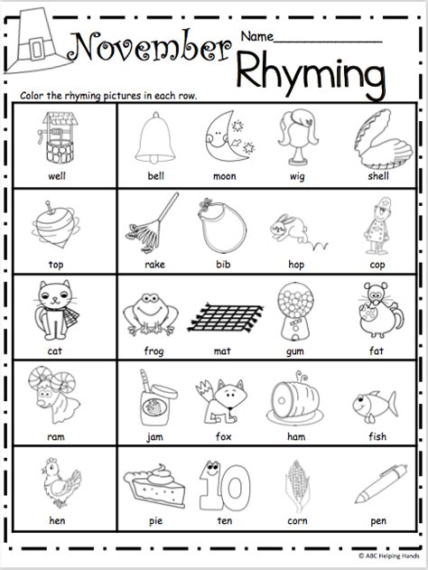 Rhyming Worksheets For Kindergarten free kindergarten rhyming worksheets for november