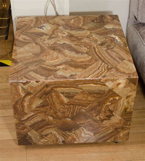 Onyx Cube Side Table pair of onyx cube form side tables at 1stdibs