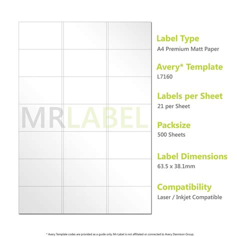 label template j8160 compatible labels l7160 j8160 pack of 500 sheets 21