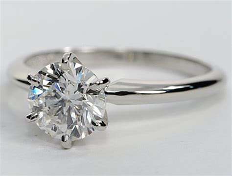 classic six prong solitaire engagement ring in platinum