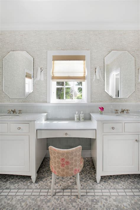 Bathroom vanity with makeup counter bathroom beach style