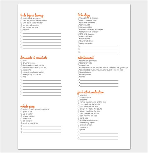 7 packing list templates pdf doc
