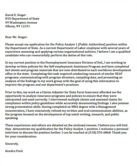 Policy Cover Letter by Policy Analyst Cover Letter 490