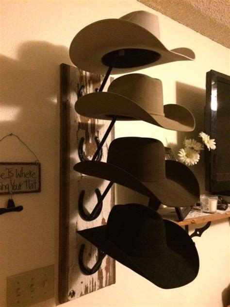 Cowboy Hat Racks Wall Mounted by Horseshoe And Barn Wood Cowboy Hat Rack Tack The Closet
