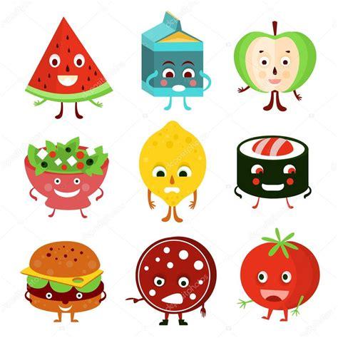 dibujo alimentos alimentos de varios dibujos animados divertidos vector