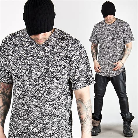 line pattern tee tops line scribble pattern round hem tee 479 for only