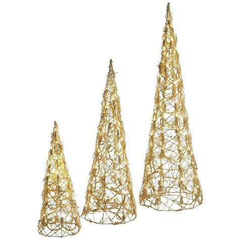 pre lit gold cone trees set cone trees pinterest
