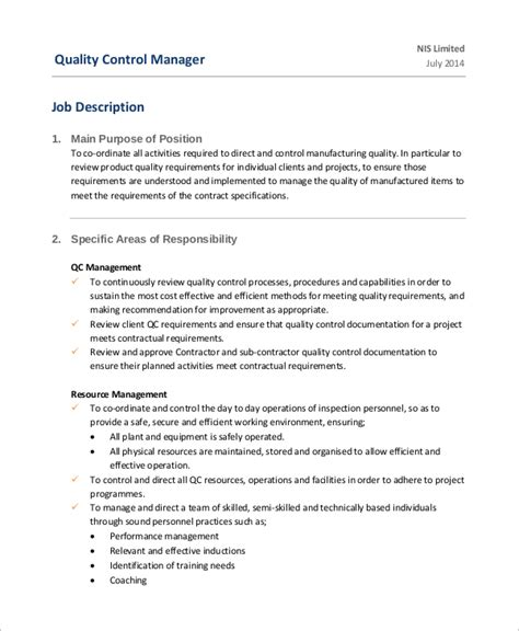Quality Duties by Sle Controller Description 7 Exles In Word Pdf