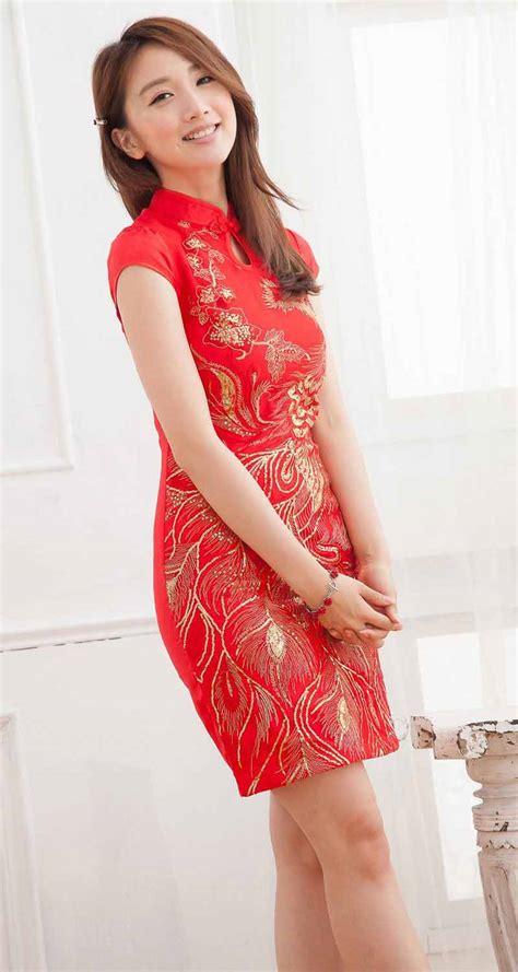 Cheongsam Murah Merah Bunga Al036 dress cheongsam merah modern terbaru model terbaru