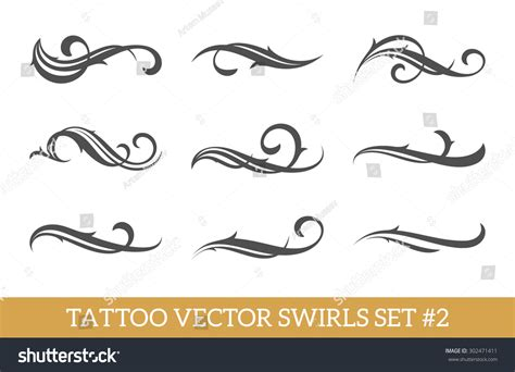 Text Decoration Style by Set Nine Vector Style Swirls Stock Vector 302471411