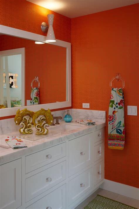 orange and brown bathroom sets orange grasscloth wallpaper contemporary bathroom k