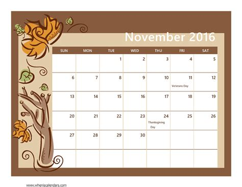 november 2016 calendar printable for seasons of the year