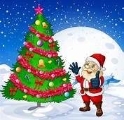 Santa And Christmas Tree Vector 01