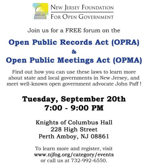 Free Open Records Free Njfog Open Records Forum Sept 20 The Amboy Guardian