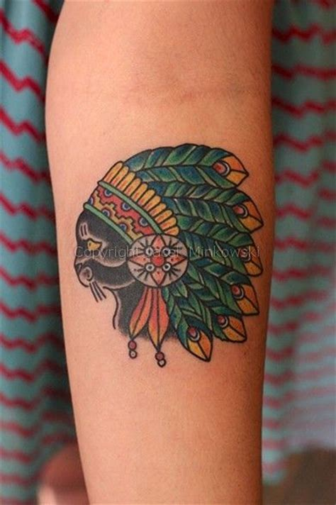indian head tattoo by jacek minkowski traditional style indian