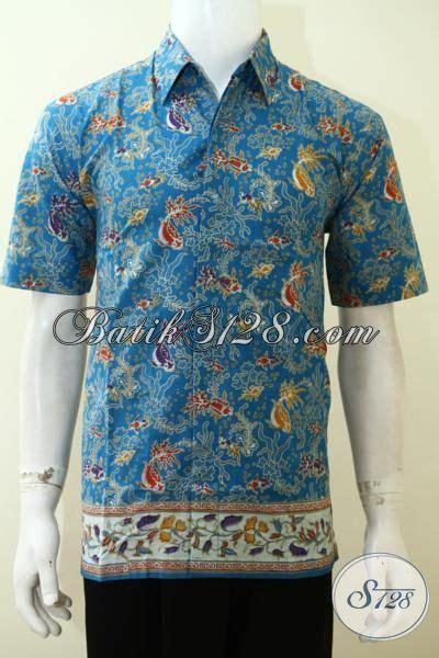 Batik Hem Ikan baju batik print laki laki til modis hem batik biru kwalitas halus baju batik motif ikan