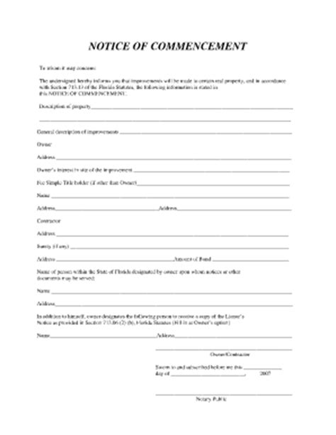 Letter Of Commencement Sle Fill Online Printable Fillable Blank Pdffiller Notice To Owner Florida Template