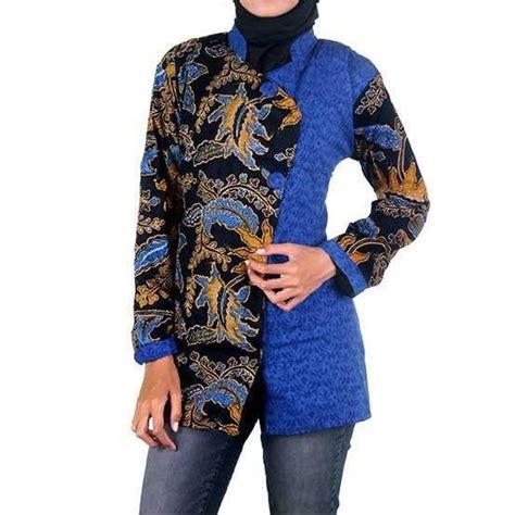 Blus Lengan Panjang blus lengan panjang motif batik kombinasi embos antika