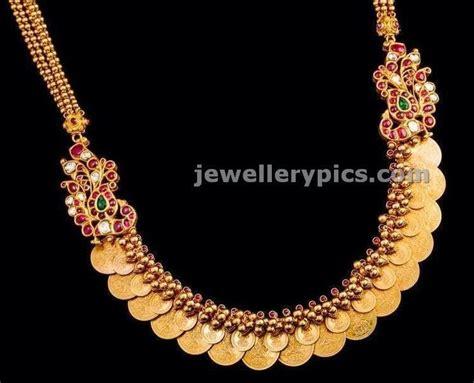 pattern of gold jewellery gold overlaid kasulaperu tushi necklace kasu mala