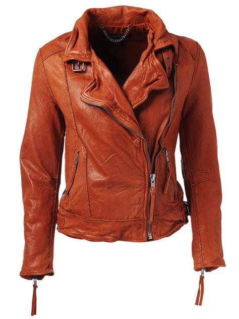 Jacket Orange keeley leather biker jacket in orange