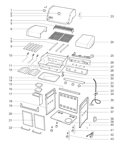 weber genesis s 310 replacement parts weber 6550001 parts list and diagram ereplacementparts