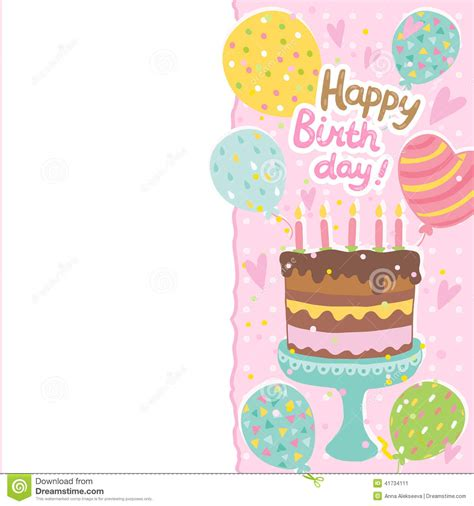 Birthday Cake Shaped Card Template by Happy Birthday Card Background With Cake Stock Vector