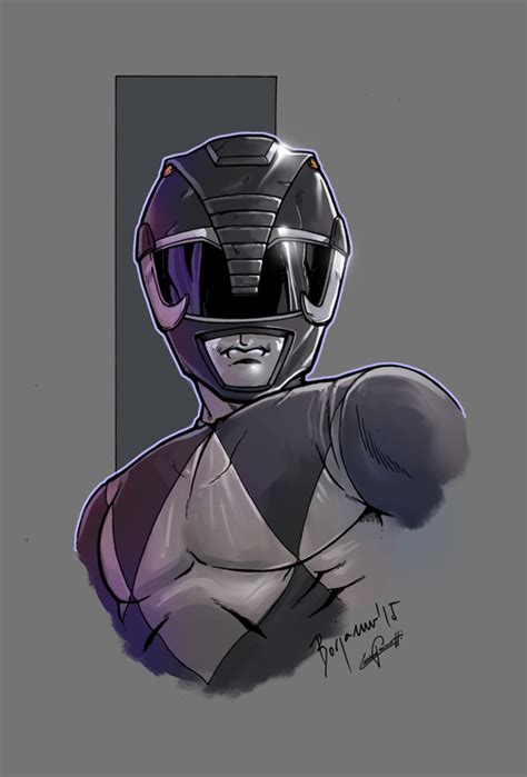 mighty morphin power rangers black color by le0arts on