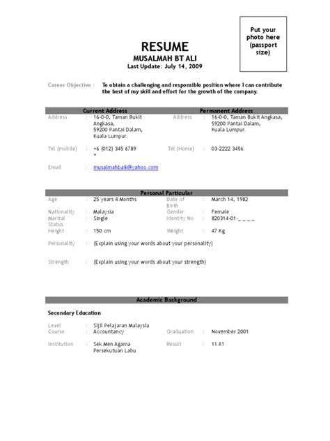 simple resume after spm 17770112 contoh resume terbaik business