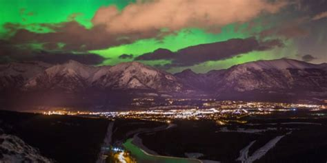 can you see the northern lights in vancouver canada northern lights time lapse over the rockies captures
