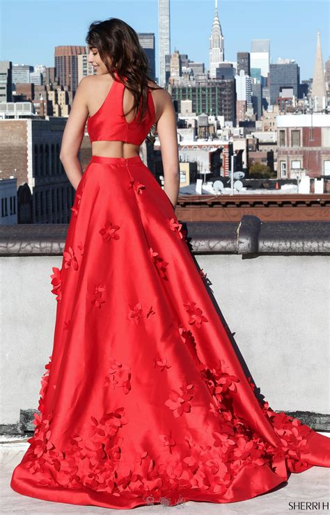 sherri hill  halter neckline  flower long dress