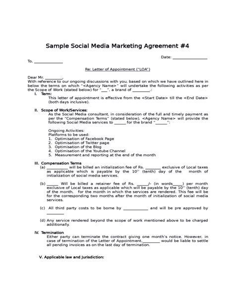 Social Media Contract Templates Word Excel Sles Free Marketing Contract Template