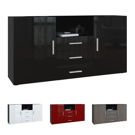 sideboard cabinet chest of drawers skadu black high