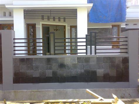 desain pagar besi minimalis batu alam terbaru dekor rumah
