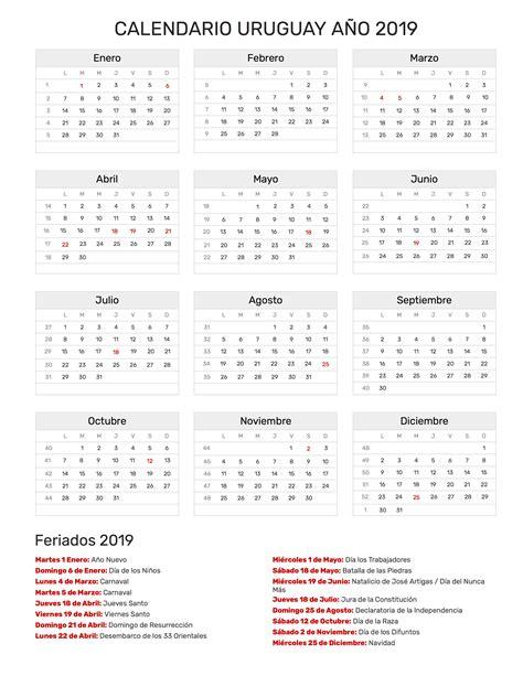 Calendario 2018 Argentina Para Imprimir Calendario Uruguay A 241 O 2019 Feriados