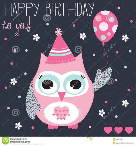 Happy Birthday Owl Vector Illustration Stock Vector