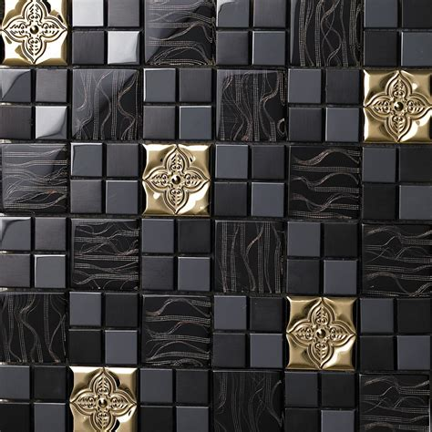 tst glass metal tile black gorgeous golden flower mosaic