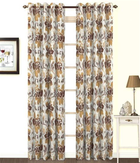 grey and brown curtains skipper brown gray floral poly cotton eyelet curtain