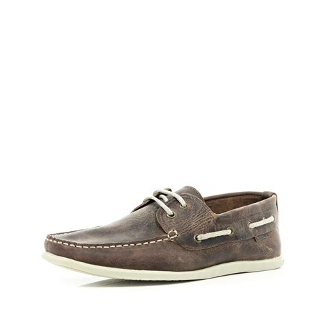 river island brown leather boat shoes in brown for lyst