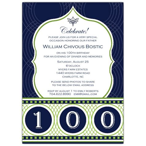 celebrate his century 100th birthday invitations paperstyle