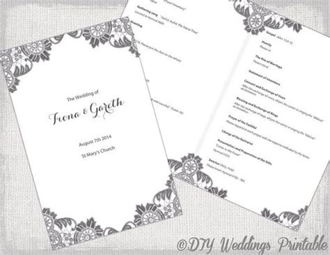 Diy Catholic Wedding Program Template Charcoal Gray Quot Antique Lace Quot Diy Printable Order Of Catholic Wedding Template Mass Booklet