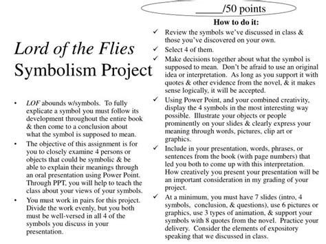 list of symbols in lord of the flies ppt lord of the flies symbolism project powerpoint