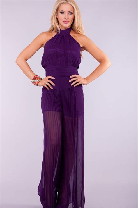 Summer Dress Pantai Sundress Jumpsuit On Romper Orange Leaf purple sheer chiffon halter pleated wide leg jumpsuit 28 99 like a sheer